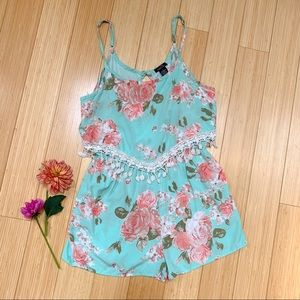 RUE21 aqua and vintage rose print romper, M.